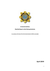 Garda Commissioner's Monthly Report to the Policing Authority - April 2019