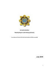 Garda Commissioner's Monthly Report to the Policing Authority - July 2019