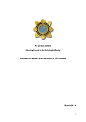 Garda Commissioner's Monthly Report to the Policing Authority - March 2019