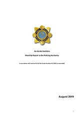 Garda Commissioner's Monthly Report to the Policing Authority - August 2019