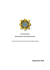 Garda Commissioner's Monthly Report to the Policing Authority - September 2019